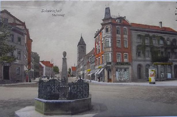 Steinweg mit 4-Röhren-Brunnen 1914 - heute Schultesstraße