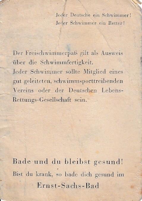 Reklamezettel aus den 1930ern (oben Vor- und Rückseite)