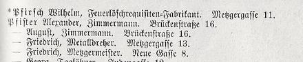 Adressbuch 1895 - Metzgergasse 11