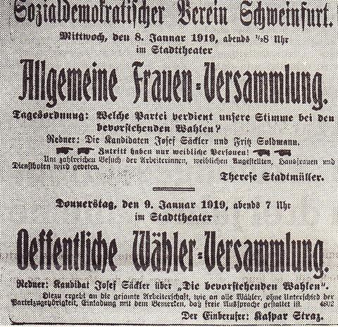 Einladung zur Allgemeinen Frauenversammlung des Sozialdemokratischen Vereins Schweinfurt im Schweinfurter Tagblatt am 07. Januar 1919
