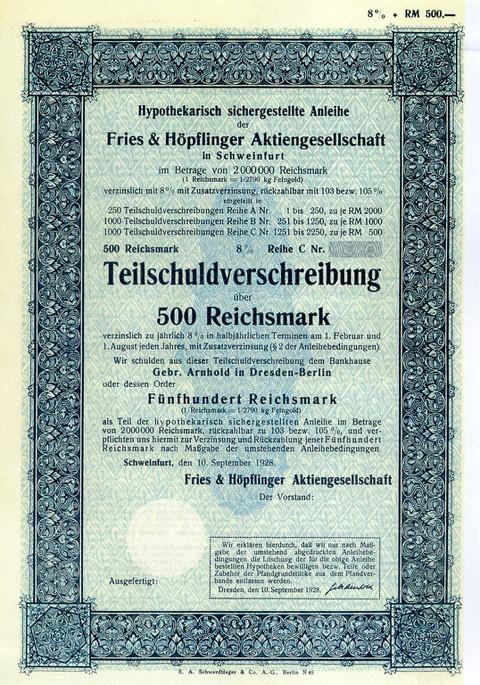 Teilschuldverschreibung Fries & Höpflinger aus dem Jahr 1928