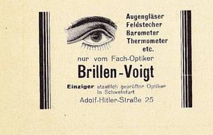 Anzeige aus dem Heft zur Heimatschau in Schweinfurt 1934