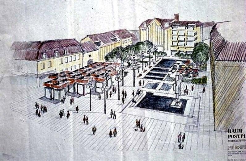 Der Vorschlag Peter Hofmann zur Umgestaltung des Postplatzes 1972