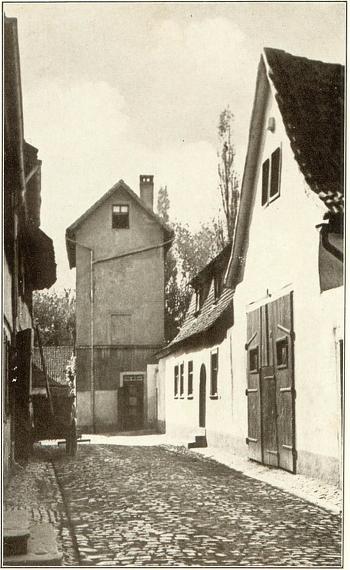 """Partie an den Brennöfen - vor dem Zweiten Weltkrieg - vor dem rechten Haus befand sich das """"Armenhaus"""""""