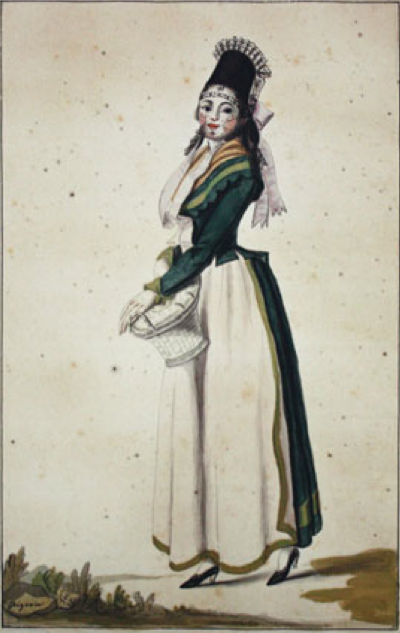 Bürgerin in Schweinfurter Tracht. Aquarell - 1798