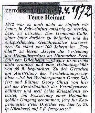 Zeitungsartikel 1972
