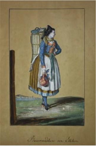 Bauernmädchen aus Ettleben, Aquarell mit Deckweiß