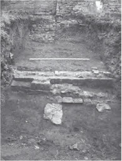 m Bildhintergrund die Stadtmauer mit dem Stützpfeiler links. Im Mittelgrund die Hangmauer (Bild 3)