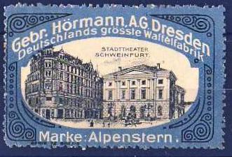 Dresdner Werbemarke mit Stadttheater Schweinfurt am Schillerplatz