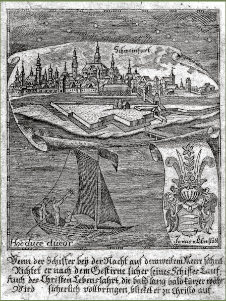 """Kupferstich aus Zittauisches Tagebuch, um 1800   In der oberen Hälfte eine Gesamtansicht von Schweinfurt, darunter eine Allegorie zum Thema """"""""Segeln"""""""" und ein Wappen derer von Eberstadt"""