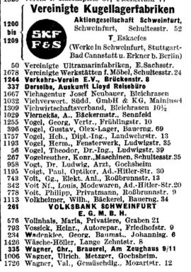 Auszug aus dem Reichstelefonbuch 1942