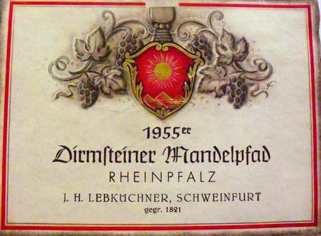 Die Firma Lebküchner betrieb Weinhandel. Hier ein Weinetikett aus der Nachkriegszeit, als das Haus nicht mehr stand