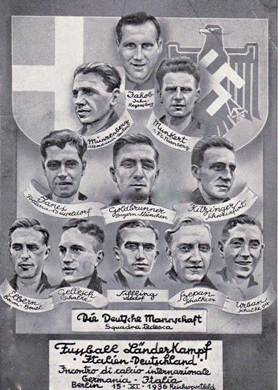 Die Nationalmannschaft 1936 mit dem Schweinfurter FCler Albin Kitzinger - Deutschland : Italien - Das Freundschaftsspiel endete 2 : 2