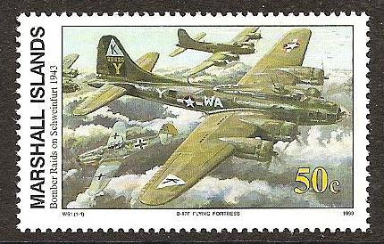 Eine Briefmarke erinnerte an den verlustreichen Angriff auf Schweinfurt