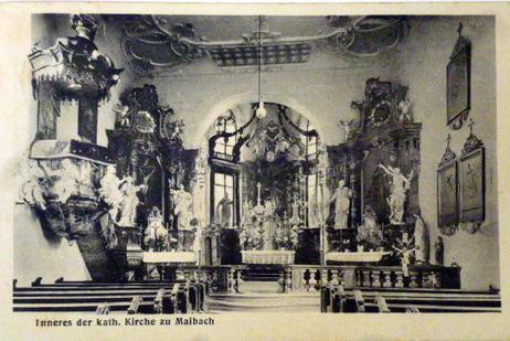 ca. 1930 - Innenansicht der kath. Kirche