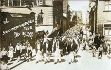 Studiengenossenfest 1926 in Schweinfurt Siebenbrückleinsgasse