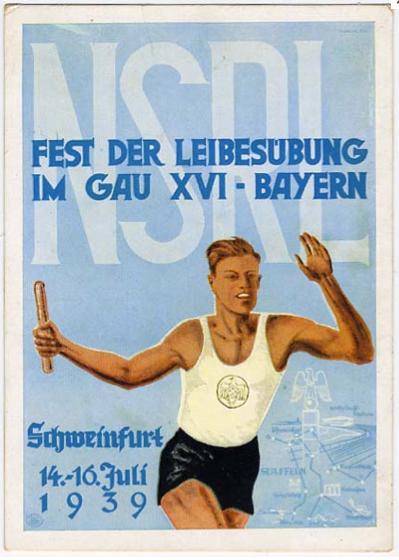 """Vom 14.07. - 16.07.1939 fand das """"Fest der Leibesübung im Gau XVI-Bayern in Schweinfurt, Willy-Sachs-Stadion statt"""