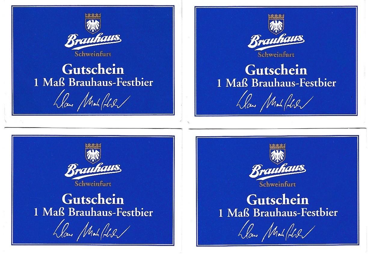 Dieser Gutschein wurde in der Zeit als Klaus Markfelder als Direktor zeichnete und Geschäftsführer beim Brazhaus Schweinfurt war (bis 2005) an Personen f. Bierfreibezug bei Dorf- oder Volksfesten ausgegeben