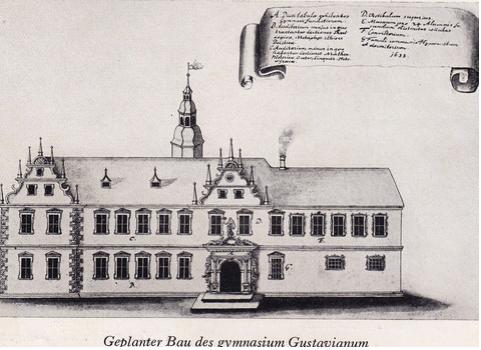 Von Gustav Adolph geplanter Bau eines Gymnasiums in Schweinfurt
