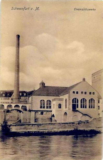Das alte Elektrizitätswerk am Main ca. 1908