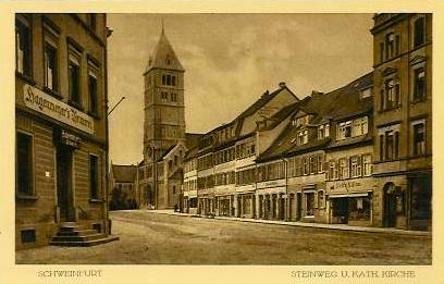 Schultesstraße bzw. damals Steinweg; links Gaststätte Hagenmeyer; ca. 1918