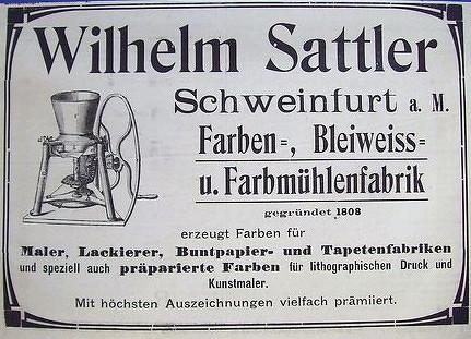 Reklame der Fabrik Wilhelm Sattler