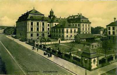 Luitpoldstraße mit Blick auf Justizgebäude 1908 (Gegenrichtung zu Bild zuvor)