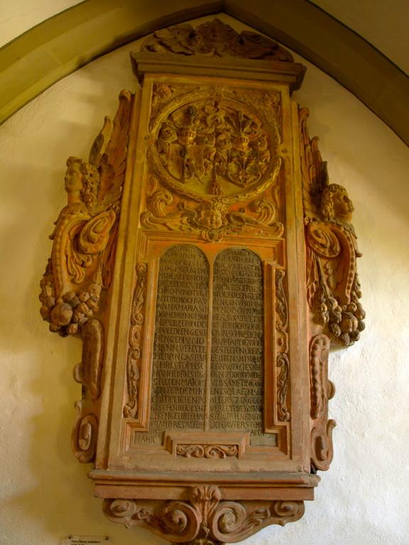 Anna Maria Schönherr, 1629-1648, Ehefrau des Majors Caspar Schönherr und Andreas Sommerfeld, 7 Tage alt, Söhnchen des Andreas Sommerfeld, gest. 1648. Beide Offiziere kämpften im 30-jährigen Krieg auf schwedischer Seite