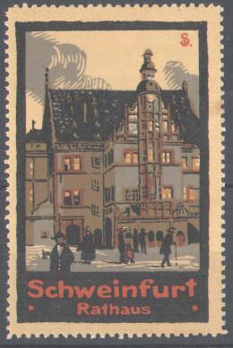 Schweinfurter Rathaus auf Werbemarke