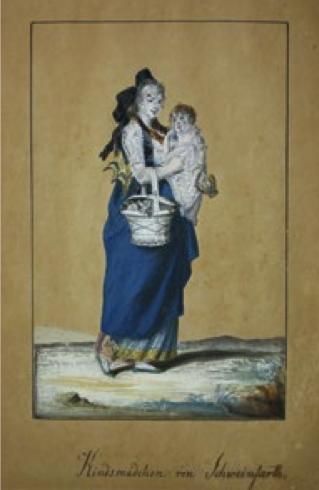 Kindsmädchen von Schweinfurth, Aquarell mit Deckweiß