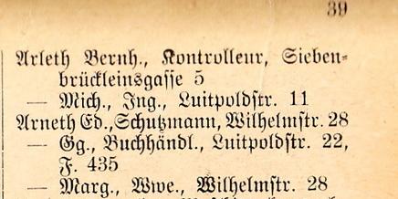 Auszug Adressbuch 1921