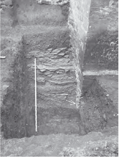Bild 4: Schnitt durch den Ansatz des Stadtgrabens am Weißen Turm.
