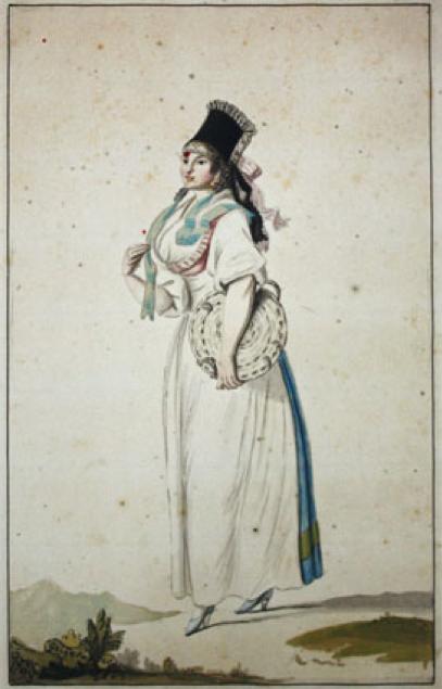 Bürgerin in Schweinfurter Tracht. Aquarell,  1798