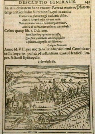 Auf der Darstellung Schweinfurt aus dem Jahre 1595 im Hintergrund links Straße nach Oberndorf und ganz hinten Häuser von Oberndorf - die Straße nach Würzburg führte durch Oberndorf