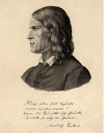 Carl Barth: Friedrich Rückert, Stahlstich 1840; Stadtarchiv Schweinfurt