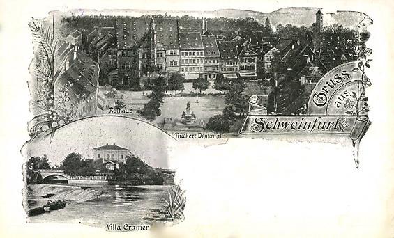 Marktplatz und Villa Cramer in den 20ern des 20. Jahrhunderts