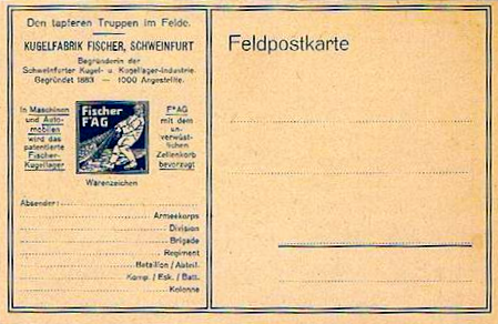 Feldpostkarte der Kugelfabrik Fischer