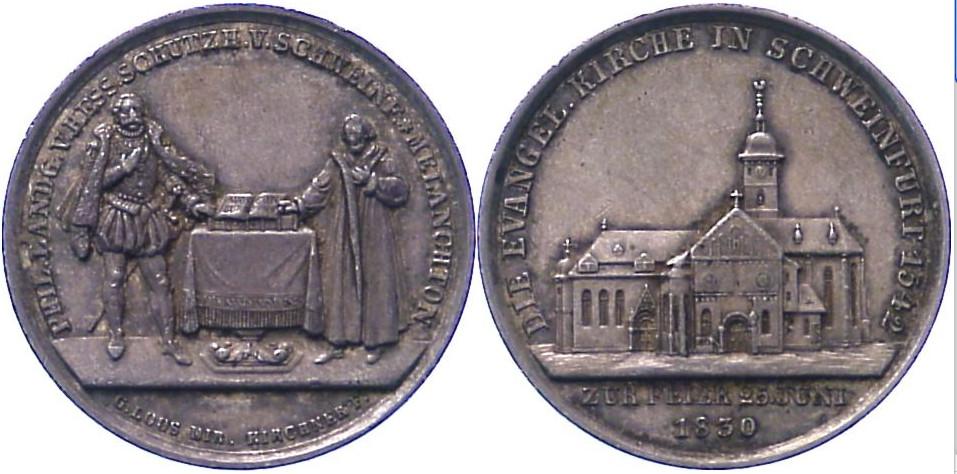 Silbermedaille 1830, von Kircher / Loos. Auf die 300 Jahrfeier der Augsburger Konfession. Landgraf Philipp von Hessen und Melanchthon stehen neben Altar / Ansicht der St. Johanniskirche