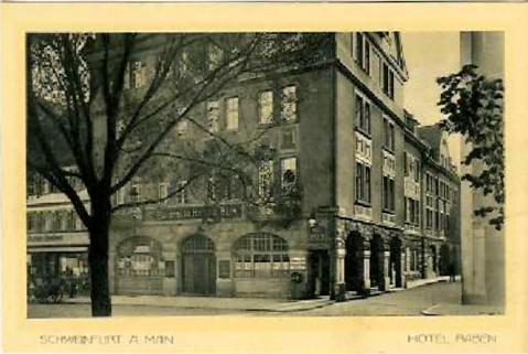 Hotel zum Raben vom Rückert-Denkmal aus gesehen
