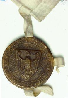Siegel der Stadt Schweinfurt an einer Urkunde des Jahres 1364