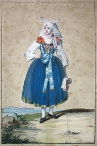 """Geiger, Margarete, Schweinfurt 1783 bis 1809 Wien. Bauernmädchen in Geldersheimer Tracht. Aquarell bezeichnet """"Geltersheimer Bauernmädchen"""" ca. 1799"""