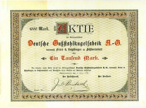 Aktie der Deutschen Gußstahlkugelfabrik AG über 1000 Mark