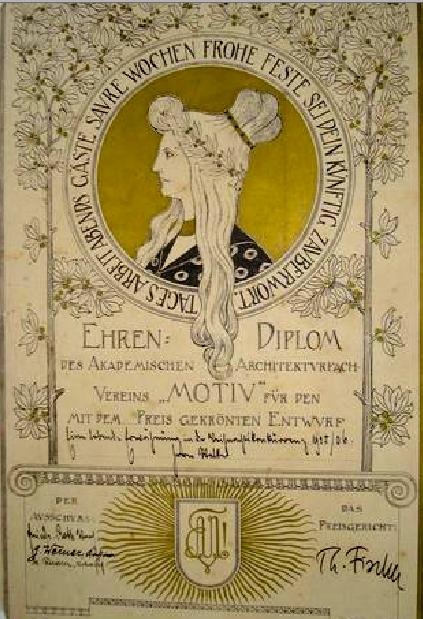 Eine von Th. Fischer (u.r.) unterzeichnete Urkunde