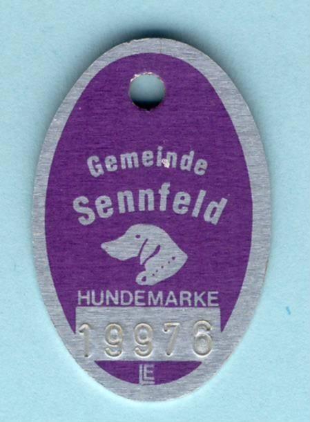 Hundesteuermarke Gemeinde Sennfeld