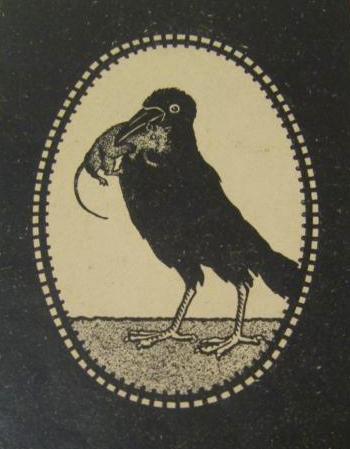 """Titelbild des Büchleins über die """"ergötzlichen Streiche des Kolkrabens Jakob"""" - es soll ein kluger und gelehriger halbzahmer Kolkrabe gewesen sein, der im Hotel ansässig war"""