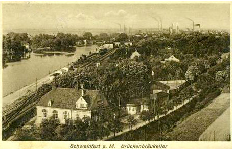 Blick von der Peterstirn auf den Brückenbräukeller