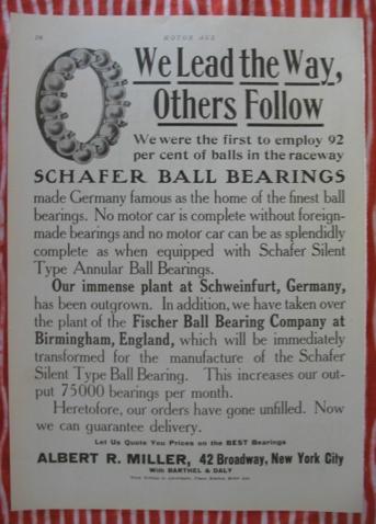 Im Jahre 1910 wurde die enorme Bedeutung des Schweinfurter Kugellagers auch international offenkundig
