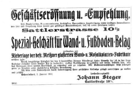 Geschäftseröffnung 1913