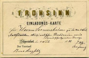 Einladungskarte aus dem Jahr 1881