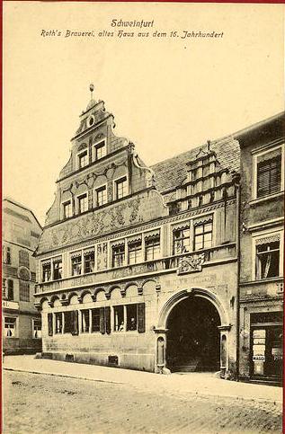 Das schönste Gasthaus Schweinfurts war zweifelsohne das Gasthaus Roth (zuvor Gasthaus zum Einhorn) ein wundervolles Renaissancegebäude, von dem heute nur noch das Erdgeschoss steht. Wer baut es wieder auf?
